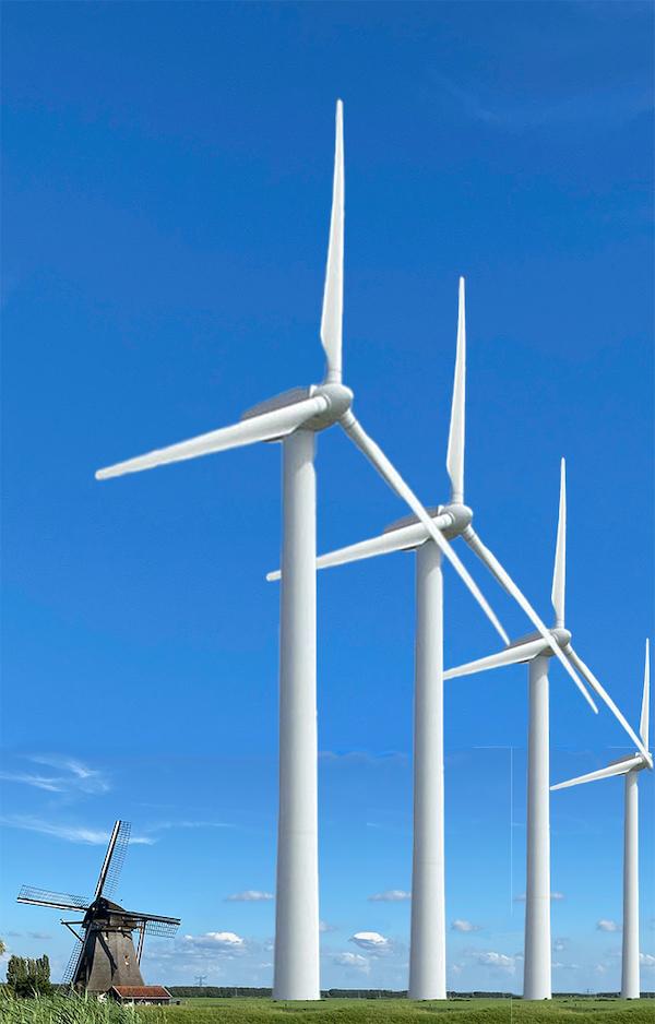 Oostzijdse molen met windturbines er vlak achter